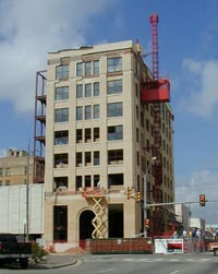 Building restoration in progress in Downtown Greenville
